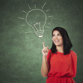 Woman pointing at a picture of lamp — Stock Photo