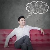 Young man imagine his future — Stock Photo