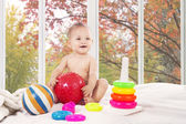 Cute baby on bedroom at home — Stock Photo
