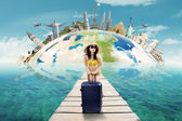 Sexy woman with bikini vacation to the world monument — Stock Photo