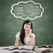 Clever female learner imagine her dreams — Stock Photo