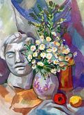 Stilleben en bukett blommor — Stockfoto