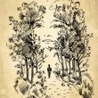 Surreal portrait of a woman in the park. Freehand drawing — Stock Photo #60996751