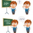 Schoolboy writing on the chalkboard — Stock Vector #61086523