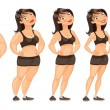 Stages of weight loss — Stock Vector #61086597
