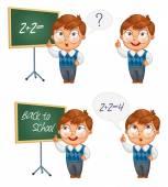 Schoolboy writing on the chalkboard — Stock Vector