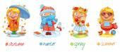 Baby girl and the four seasons — Vector de stock