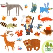 Set funny forest little animals. Cartoon character — Stock Vector #61095523