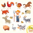 Set funny farm little animals. Cartoon character — Stock Vector #61095563