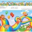 Children slide down on a rainbow — Stock Vector #61096485