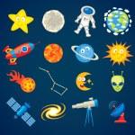 Постер, плакат: Trendy astronomy icons Funny cartoon character