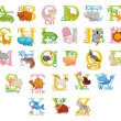 Cute animal alphabet — Stock Vector #61096729