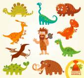 Set funny prehistoric animals. Cartoon character — Wektor stockowy