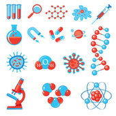 Trendy science icons. Physics Chemistry Biology and Medicine — Vector de stock