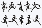 Set running silhouettes — Stock Vector