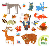 Set funny forest little animals. Cartoon character — Stock Vector