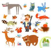Set funny forest little animals. Cartoon character — Vetor de Stock