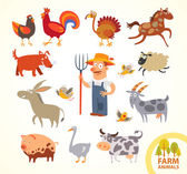 Set funny farm little animals. Cartoon character — Stock Vector
