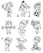 Sports and fitness. Funny cartoon character — Vetor de Stock