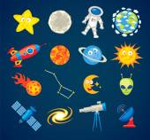 Trendy astronomy icons. Funny cartoon character — Stock Vector