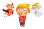 Choice between good and evil. Funny cartoon character — Stock Vector