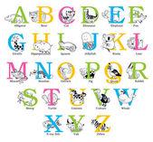 Cute animal alphabet — Stock Vector