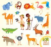 Set funny african little animals — Stock Vector