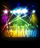 Abstract party sound background with dancing people — Stock Vector
