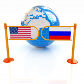 Three-dimensional image of the turnstile and flags of USA and Ru — Stock Photo