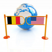 Three-dimensional image of the turnstile and flags of USA and Be — Stock Photo