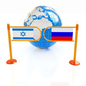 Three-dimensional image of the turnstile and flags of Russia and — Stock Photo