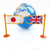 Three-dimensional image of the turnstile and flags of UK and Jap — Stock Photo