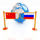Three-dimensional image of the turnstile and flags of China and  — Stock Photo