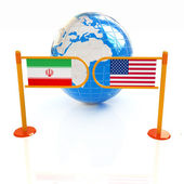 Three-dimensional image of the turnstile and flags of USA and Ir — Stock Photo