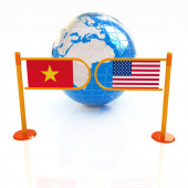 Three-dimensional image of the turnstile and flags of USA and Vi — Stock Photo