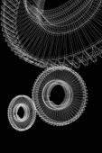 齿轮在黑色背景上设置 — 图库照片