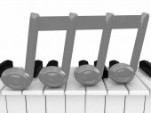 3d note on a piano — Stock Photo
