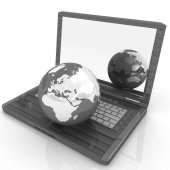 Eco Wooden Laptop and Earth — Stock Photo