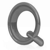"""白い背景のアルファベット。文字""""q"""" — ストック写真"""