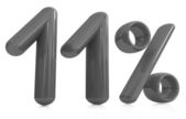 """3d red """"11"""" - eleven percent — Stock Photo"""
