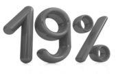 "3d red ""19"" - nineteen percent — Stock Photo"