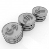 Gold coins with 3 major currencies — Stock Photo