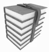 Stack of leather book with belt — Stock Photo
