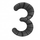 """Wooden number """"3""""- three on a white. — Stock Photo"""