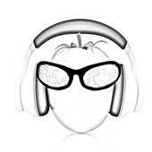 """Tomato with sun glass and headphones front """"face"""" — Stock Photo"""