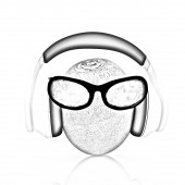 """Kiwi with sun glass and headphones front """"face"""" — Stock Photo"""