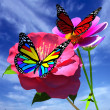 Beautiful Flower and butterfly against the sky — Stock Photo #62515545