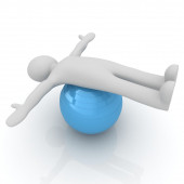3d man exercising position on fitness ball. My biggest pilates s — Stock Photo