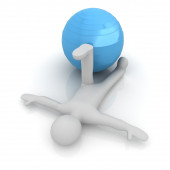 3d man exercising position on fitness ball. My biggest pilates s — Foto de Stock