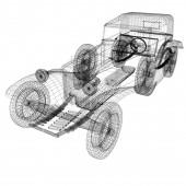 3d model retro car — Stock Photo